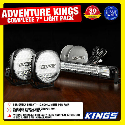 "22"" Adventure Kings LED Light Bar SUV + 4WD Driving Light Pair 7"""