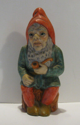 """Vintage Ceramic Hand Painted Garden Gnome with pipe, 8 1/2"""" tall, One of a Kind"""