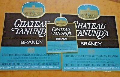 Collectable brandy labels - Lot of 3 Chateau Tanunda imperial brandy labels MINT