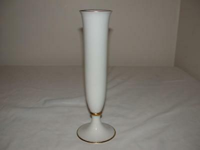 """Hutschenreuther Selb Bavaria Ivory Vase With Gold Trim Germany 10"""" Tall"""