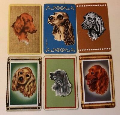 6 Vintage Playing Cards ~ Spaniel Dogs ~ Portraits ~1 LIAL ~1 Blank Swap