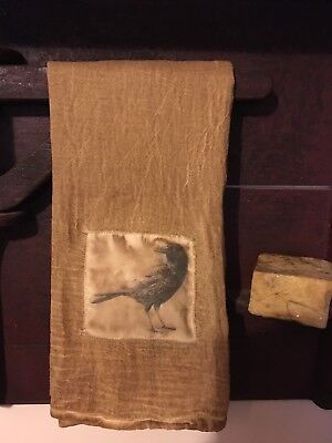 Primitive handmade Flour Sac Decorative Towel 28x29 Black Crow Print