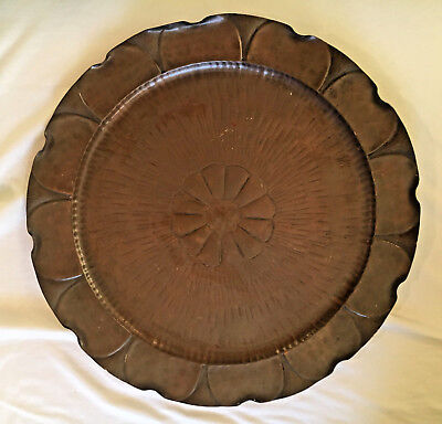 Large Antique HAMMERED COPPER ARTS & CRAFTS TRAY Craftsman Studios #604 Daisy