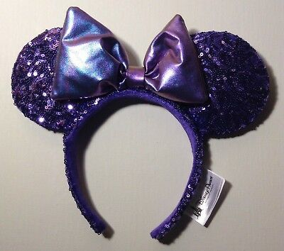 New! Disney Minnie Mouse Ear Headband- Potion Purple Sequin w/ Bow