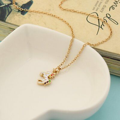 Women Rainbow Unicorn-shaped Alloy Short Clavicle Chains Necklace Gifts HC