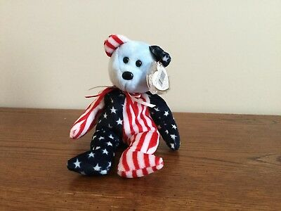 Ty Beanie Baby - Spangle the Patriotic Bear (Blue Face) 1999