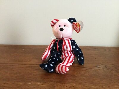 Ty Beanie Baby - Spangle the Patriotic Bear (Pink Face) 1999