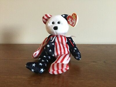 Ty Beanie Baby - Spangle the Patriotic Bear (White Face) 1999