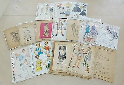 Lot 15 Vintage Sewing Patterns 1930s to 1950s Most In Poor Condition Pcs Missing