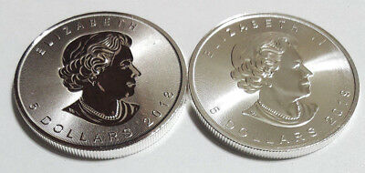 Lot of (2) Canadian $5 .9999 Silver Maple Leaf 2018-2019 Brilliant Uncirculated