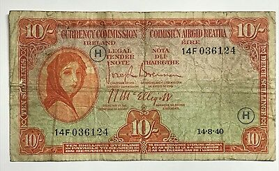 Ireland 10 Shillings Sterling Bill 1940 WWII VG 14-8-40 H Wartime Issue
