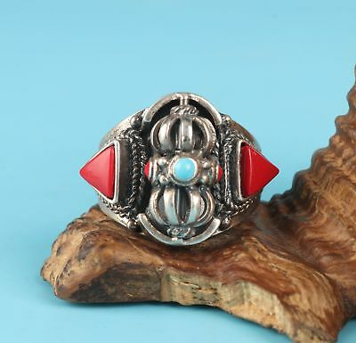 Tibetan Silver Green Pine Shihong Coral Handmade Ring Exclusive Customization