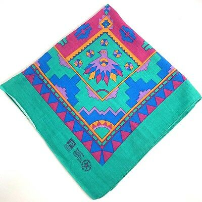 Vintage PARIS Native American Southwestern Bandana Made In USA Green Pink Purple