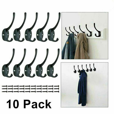 10 X Classic Antique Industrial Style Double Coat Hook Cast Iron Hanger Hook UK