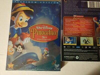 Pinocchio Disney's 70th Anniversary Platinum Edition (DVD 2009, 2-Disc Set) New!