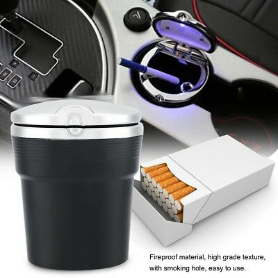 Car Ashtray Auto Travel Cigarette Ash Holder Cup W/ Blue LED Light Indicator Lid