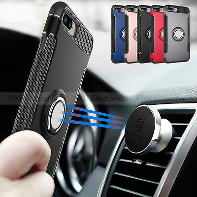 For iPhone 7 Plus X Ring Magnetic Shockproof Rugged Hybrid Phone Case Cover