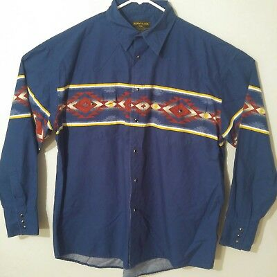 RUSTLER by Wrangler Long Sleeve Pearl Snap Western Blue Shirt XL Navajo Aztec