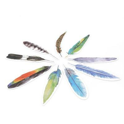 30Pcs Colorful Paper Bookmark Feather Bookmark Cartoon Stationery Gift Pack DD