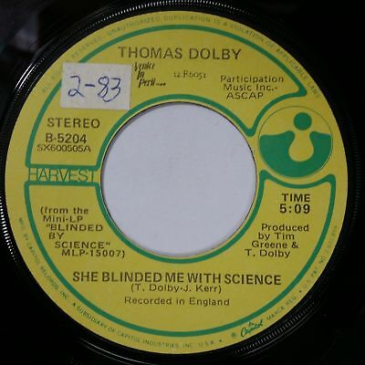 Thomas Dolby She Blinded Me With Science 45 Rpm Record 7 Vinyl