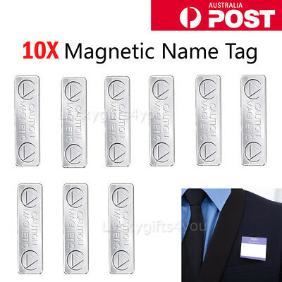10pcs Strong Magnetic Name Tag Badge Fastener ID Holder Card Magnet Clip 45*13mm