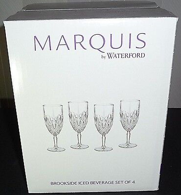 Marquis by Waterford Brookside Clear Iced Beverage Glasses! Set of 4!
