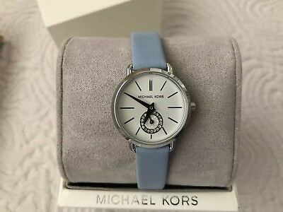 Michael Kors MK2733 Stainless-Steel and Pale Blue Leather Portia 28mm Watch