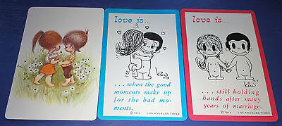 LOVE - Vintage Lot of LOVE - 3 Single 1970's Swap Trading Playing Cards