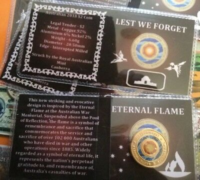 2018 Anzac Eternal Flame Unc. $2 Coin Ex Ram Bag In Collector Flip Free Au Post