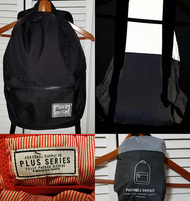 NEW HERSCHEL PACKABLE Daypack Black Tan Backpack Authentic 10076 ... f865b8580e5f5