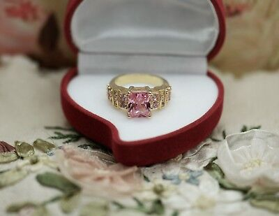 Art Deco Vintage Jewellery Ring Pink White Sapphires Antique Jewelry Size P Or 8
