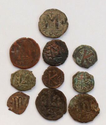 Lot of 10 uncleaned Byzantine bronze coins,  5- 6 century CE.