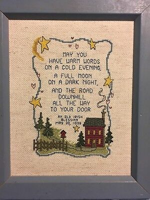Vintage Completed Cross Stitch in Custom Frame. An Irish Blessing Dated May 1998