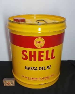 1957 MINT VINTAGE AUSTRALIAN SHELL NASSA OIL 87 ,4 imp gallon TIN DRUM AVIATION