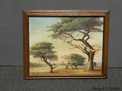 Vintage Oil on Canvas Picture Painting of Trees signed by Grace Snow As-Is