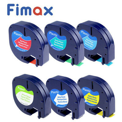 6 pk 91331 91332 91333 91334 91330 Compatible for DYMO Letratag Label Tape 12mm