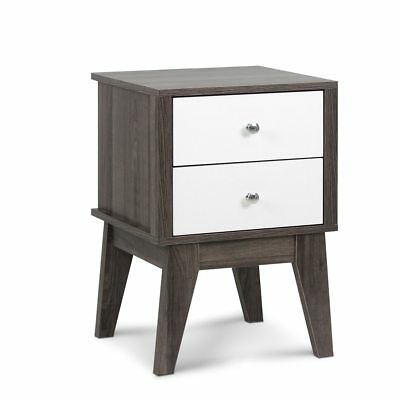 Artiss Bedside Table with Drawers White & Dark Grey