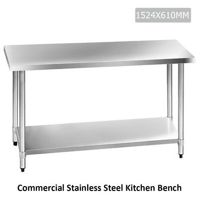 Commercial Stainless Steel Kitchen Work Bench Food Grade Prep Table 1524 x 610mm