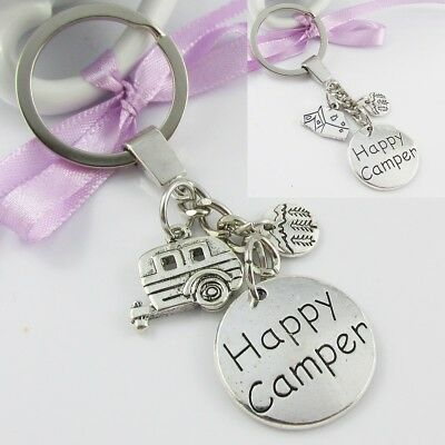 Happy Camper Outdoor Camping Charm Keychain Keyring 92mm Select Caravan or Tent
