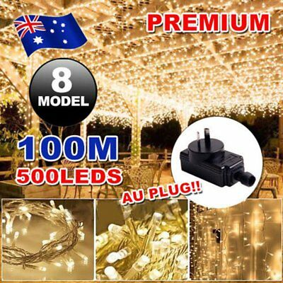 500LED 100M Warm White Fairy Christmas String Lights Wedding Party Garden SAA MU