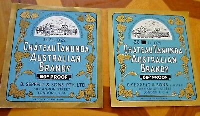 Collectable brandy labels - 2 Chateau Tanunda 24 & 26 fl oz brandy labels MINT