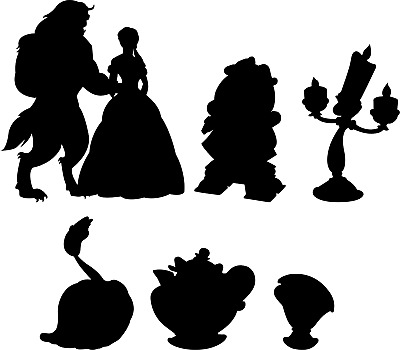 Disney Characters Silhouettes Wall Stickers Beauty And The Beast Be Our Guest 3 99 Picclick Uk