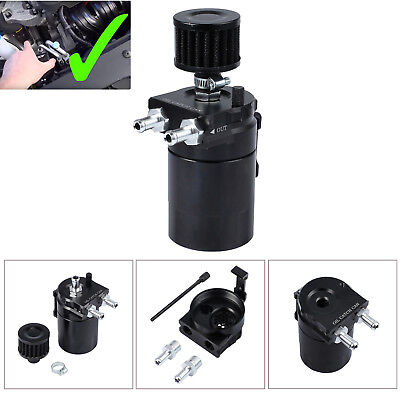 0.3L Oil Catch Breather Can Universal Baffled Aluminum Reservoir Tank Black NEW