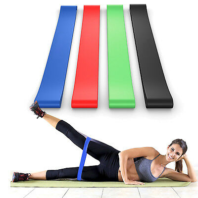 Premium Matte Resistance Loop Bands - Set of 4 - Exercise Fitness Booty Bands