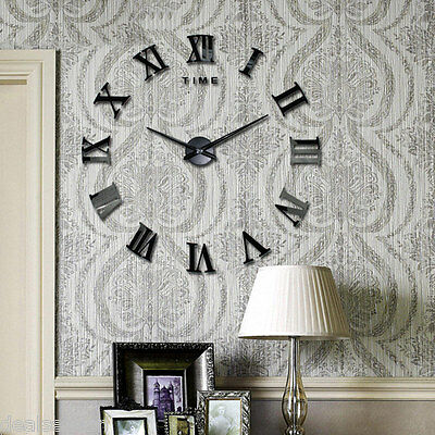 Modern DIY Large 3D Wall Clock Sticker Metal Watches Roman Numeral Decor