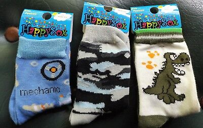 """New 3 Pair Cute Childrens """"happy Sox"""" For Boys Sizes 3@ 2-5"""