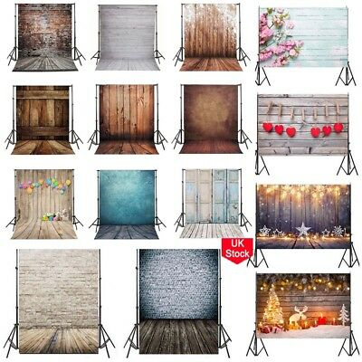 Hot Wood Floor Brick Wall Backdrops Studio Flower Photo Vinyl Backgrounds Stand