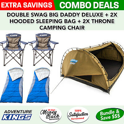 Adventure Kings Double Swag Big Daddy Deluxe + 2x Hooded Sleeping Bag + 2x Thron