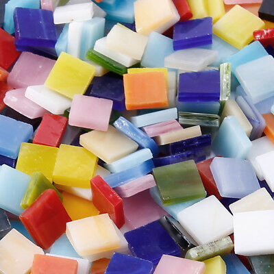 300g 380pcs Square Shape Glass Mosaic Tiles Pieces for Art DIY Crafts 10mm