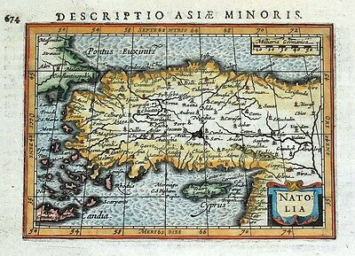TURKEY, CYPRUS, NATOLIA, PETRUS BERTIUS original antique hand coloured map 1618
